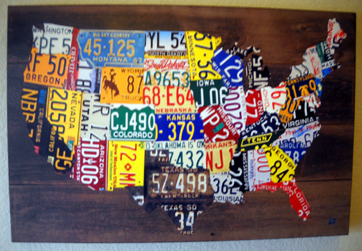 Sues AT Journal - Us map made out of license plates