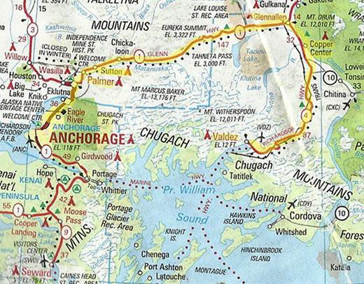 South Central Alaska Map